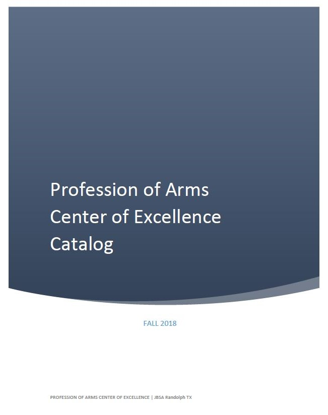 Profession Of Arms Center Of Excellence Catalog